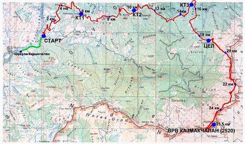 Route to Kajmaktchalan - map.