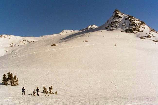Ski touring above Pear Lake...
