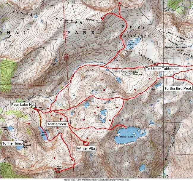 Map of possible ski routes in...