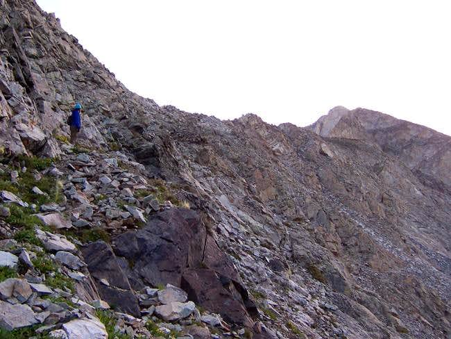 A climber on the black rock...
