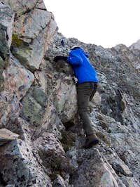 Climber gaining the SW ridge...