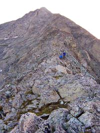 Climbers on the SW ridge as...