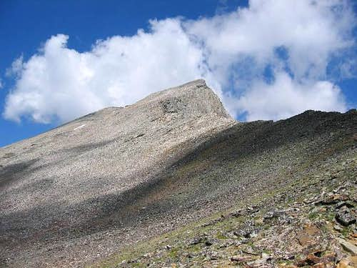 Looking up the western talus...