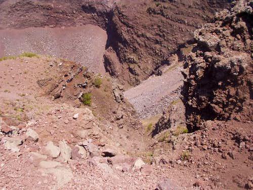 Looking into Vesuvius' crater.