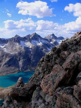 Looking down on Titcomb Basin...