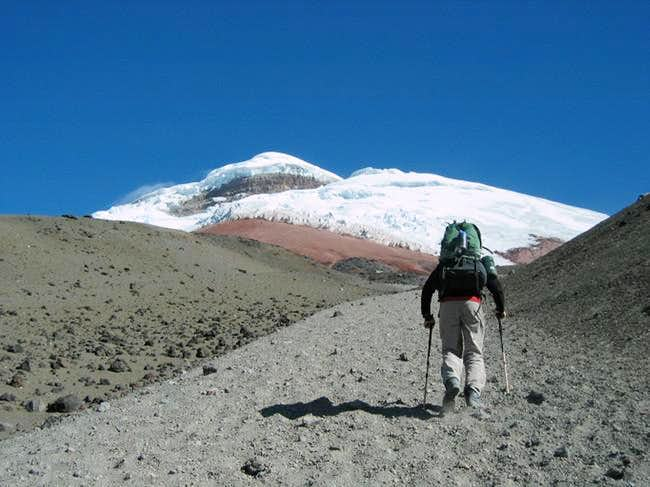Heading up to the hut. We...