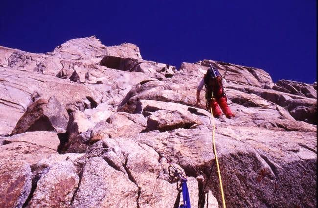 On the Southeast Face route -...