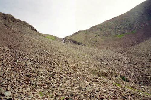 Looking up the scree slope.