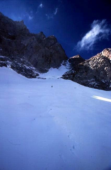 Lone climber below Mount...