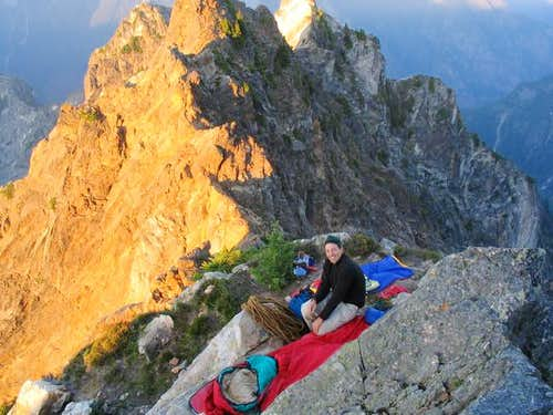 Bivy site atop pitch 2 on the...