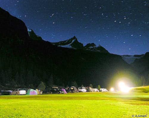 Night sky above the Becca di...