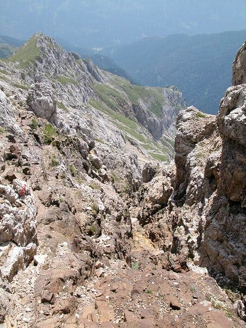 Scree covered ledges and...