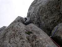 Erich climbing the first...