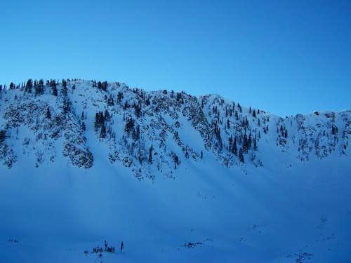 West aspect chutes of Mt....