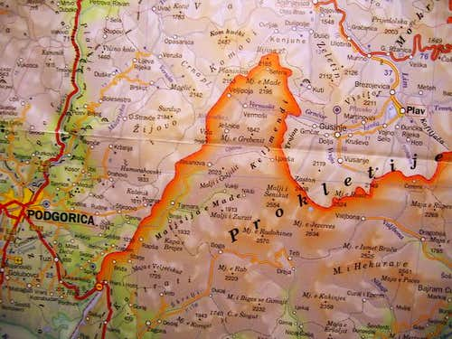 Map of Montenegro - view to...