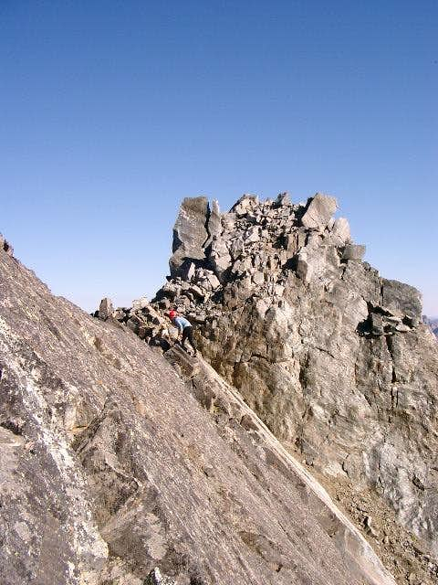 Traversing to the summit. The...