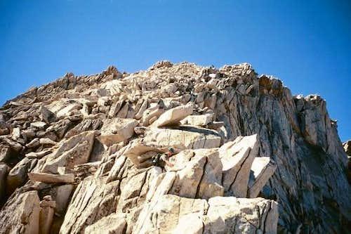 Scrambling up the ridge of...