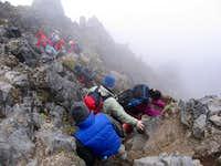 Climbing down Imbabura