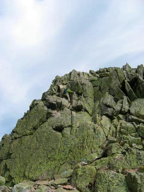 Down climbing the notch...