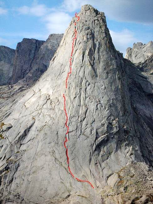 Route of ascent NE Face...