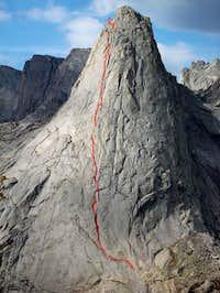 Route of ascent NE Face...