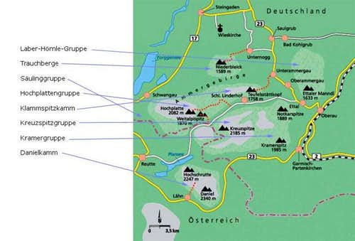 Ammergauer Alps, overview map