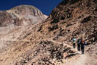 Hike to base camp is on an...