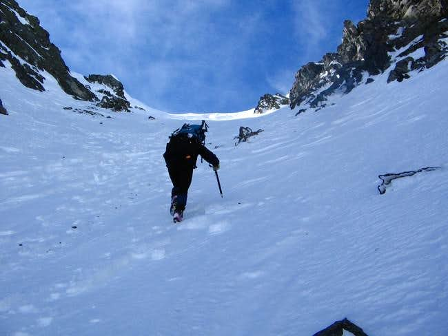 Ascending the snow gully at...