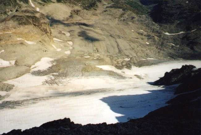 View on Sommeiller Glacier...