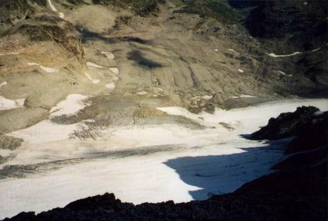 View on Sommeiller Glacier...