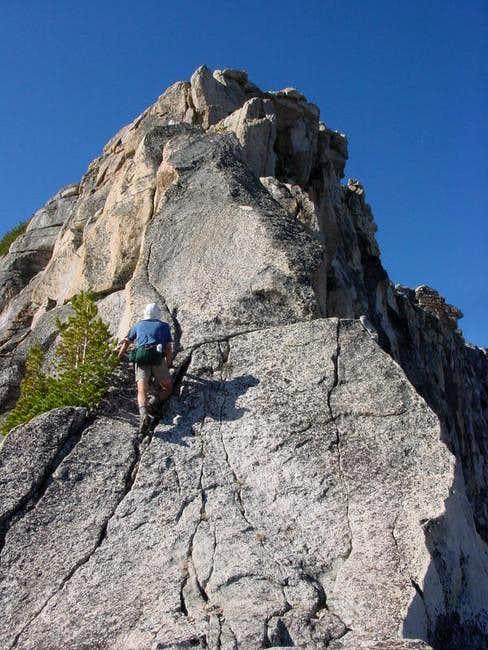 Matthew climbs a shallow...