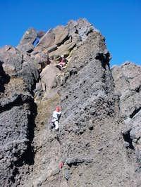 Climbers on the summit block...