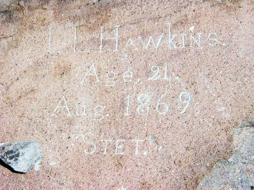 Hawkins Peak namesake etched...