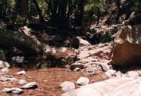 The stream in Boot Canyon has...