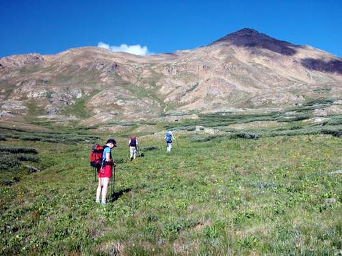 Small group of hikers in the...