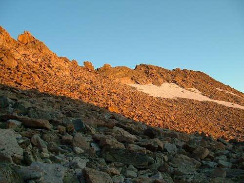 Storm Peak ridge at sunrise.