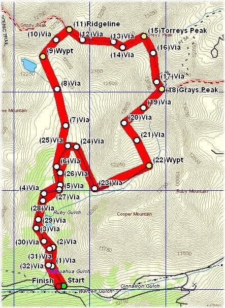 Gray\'s/Torreys route from...