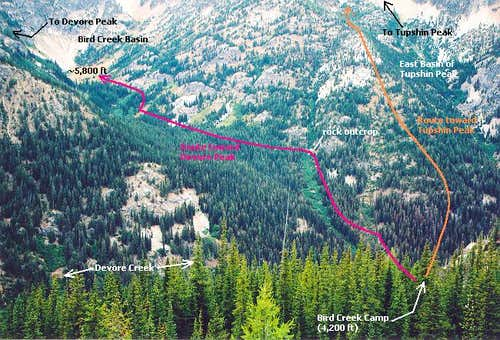 Routes from Bird Creek Camp...