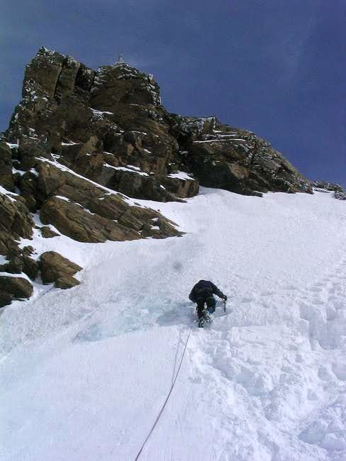 Climbing up the summit face...