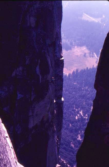 Rappeling into the notch to...
