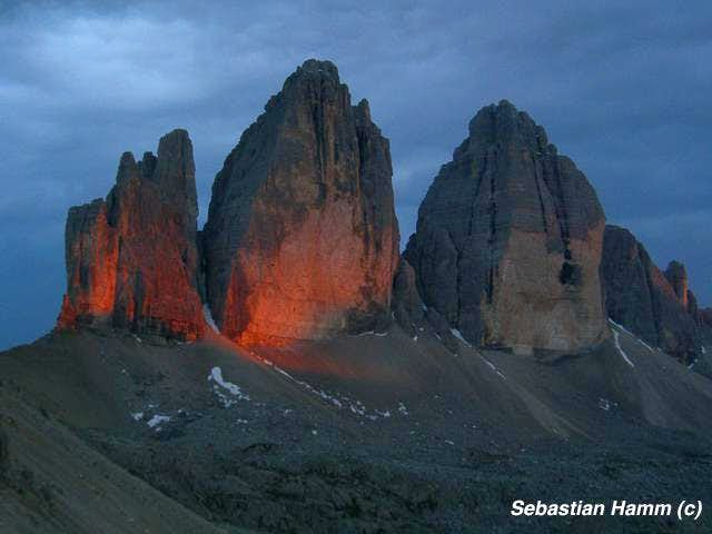 Tre Cime while sunset and...