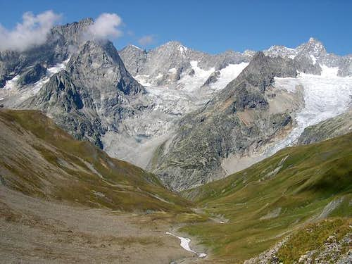 Val Ferret section of Mont Blanc range seen from Vallone di Combette