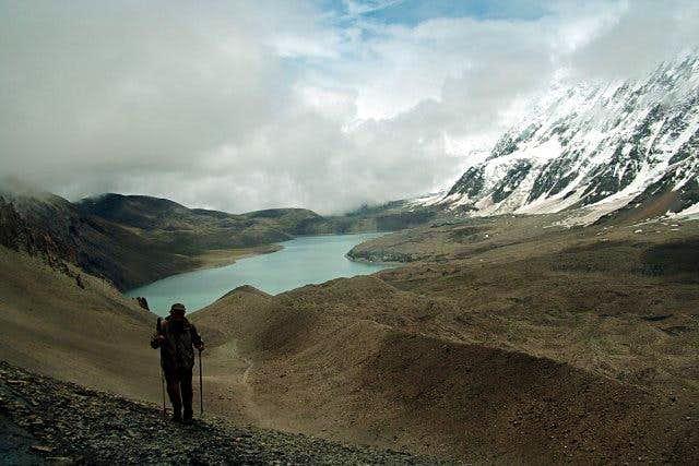 A trekker approaching the...