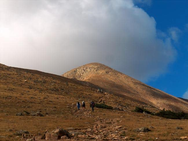 Hikers making their way to...