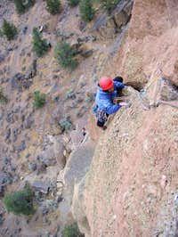 Shirley just above the crux...