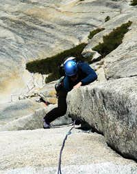 Misha coming around the crux...