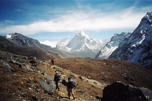 Ama Dablam on the descent from the Cho La