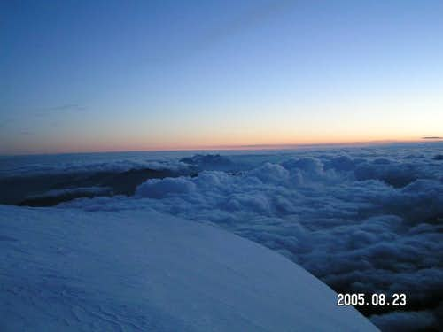 View above the hut in dawn
