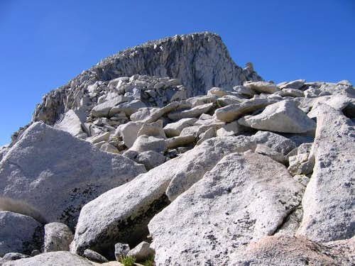 Looking up at summit of Abbot...