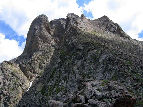 Looking up at Pico Asilado's...
